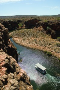 "Our tour boat ""Yardi' makes her way along Yardie Creek"