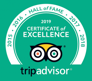 TripAdvisor Certificate of Excellence - Hall of Fame Award badge