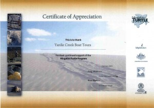 NIngaloo Turtle Program - Certificte of Appreciation 2015