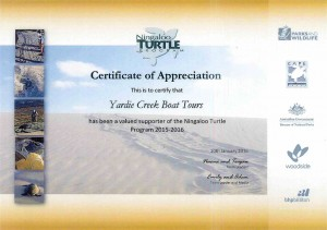 Ningaloo Turtle Program Certificate of Appreciation 2016