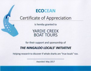 Ecocean Certifcate of Appreciation 2017