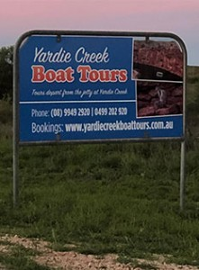 Yardie creek Boat Tours road sign