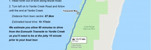 Driving directions from Exmouth to Yardie Creek